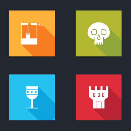 Set Well with bucket, Skull, Medieval goblet and Castle tower icon. Vector