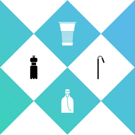 Set Bottle of water, liquid soap, Paper glass and Drinking plastic straw icon. Vector