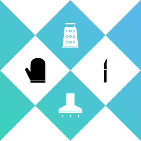Set Oven glove, Kitchen extractor fan, Grater and Knife icon. Vector