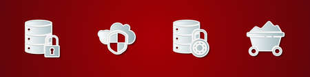 Set Server security with lock, Cloud and shield, and Coal mine trolley icon. Vector