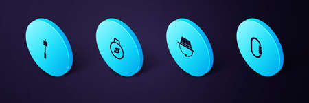 Set Isometric Carabiner, Camping hat, Compass and Marshmallow on stick icon. Vector Illusztráció