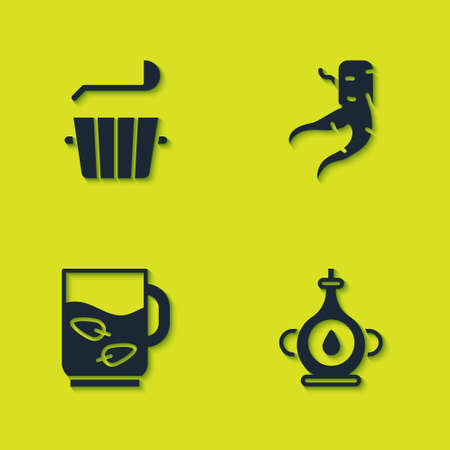 Set Sauna bucket and ladle, Oil bottle, Cup of tea leaf and Ginger root icon. Vector Illustration