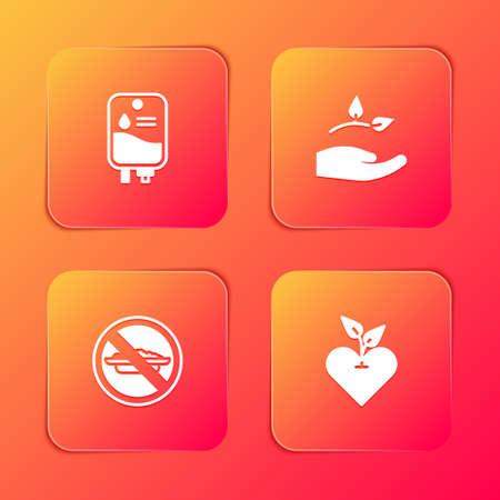 Set IV bag, Leaf in hand, Food no diet and Heart icon. Vector Illusztráció