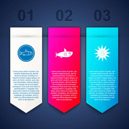 Set Served fish on a plate, Shark and Sea urchin. Business infographic template. Vector Ilustração