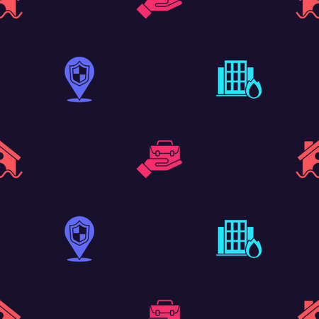 Set Fire in burning house, Location shield, Hand holding briefcase and House flood on seamless pattern. Vector Illusztráció