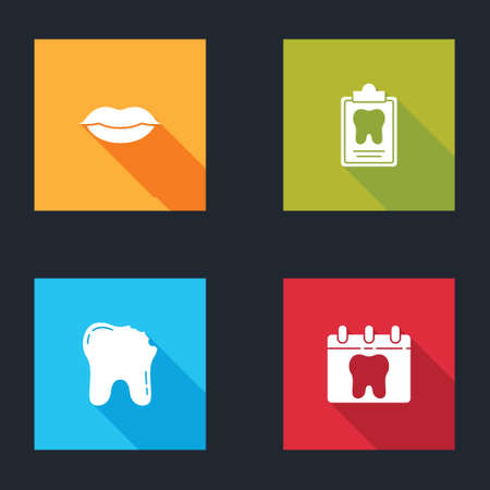 Set Smiling lips, Dental card, Broken tooth and Calendar with icon. Vector 向量圖像