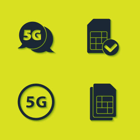 Set 5G network, Sim card, and icon. Vector 矢量图像