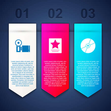 Set Cinema camera,  star and CD or DVD disk. Business infographic template. Vector  イラスト・ベクター素材