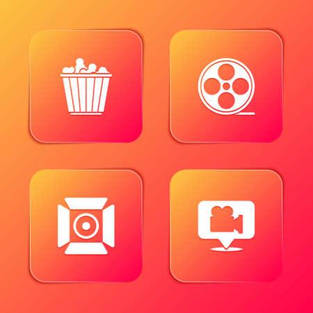 Set Popcorn in box, Film reel, Movie spotlight and Camera and location icon. Vector