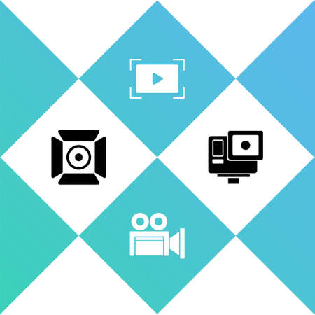 Set Movie spotlight, Cinema camera, Online play video and Action extreme icon. Vector