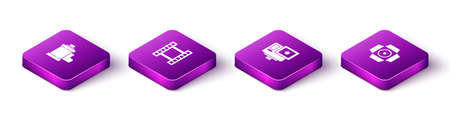 Set Isometric Camera film roll cartridge, Play Video, Action extreme camera and Movie spotlight icon. Vector