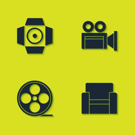 Set Movie spotlight, Cinema chair, Film reel and camera icon. Vector