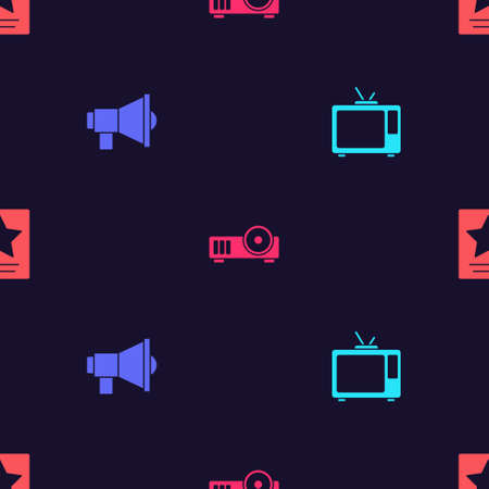 Set Retro tv, Megaphone, Media projector and  star on seamless pattern. Vector