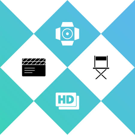 Set Movie clapper, Hd movie, tape, frame, spotlight and Director chair icon. Vector