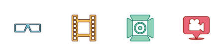 Set 3D cinema glasses, Play Video, Movie spotlight and Camera and location icon. Vector