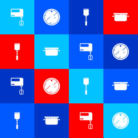 Set Electric mixer, Cutting board, Spatula and Cooking pot icon. Vector 向量圖像