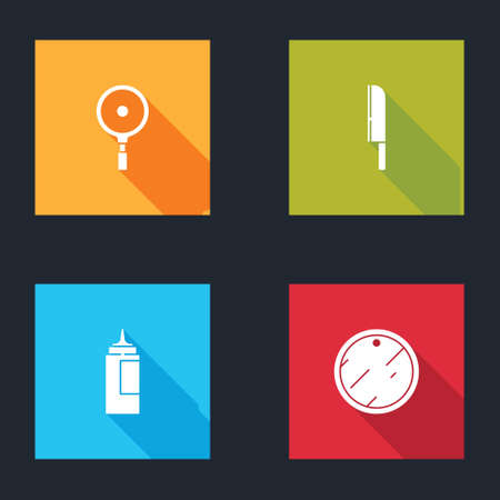 Set Frying pan, Knife, Sauce bottle and Cutting board icon. Vector Иллюстрация