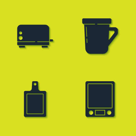 Set Toaster, Electronic scales, Cutting board and Coffee cup icon. Vector