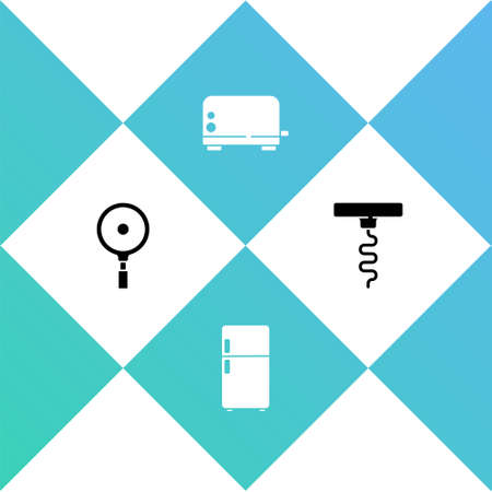Set Frying pan, Refrigerator, Toaster and Wine corkscrew icon. Vector