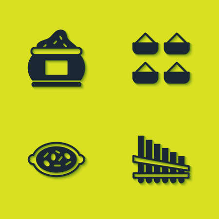 Set Indian spice, Pan flute, Kheer in bowl and icon. Vector Vettoriali