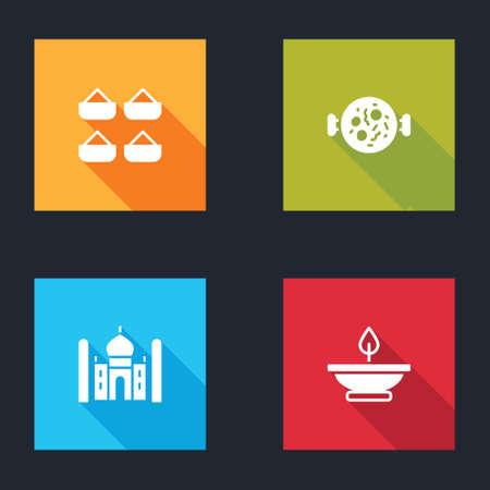Set Indian spice, Chicken tikka masala, Taj Mahal and Aroma lamp icon. Vector