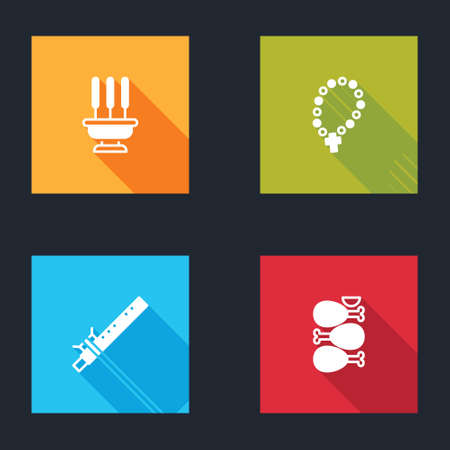 Set Incense sticks, Rosary beads religion, Bamboo flute indian and Tandoori chicken icon. Vector Vectores