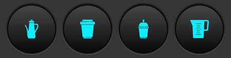Set Teapot, Coffee cup to go, and Jug glass with water icon. Vector