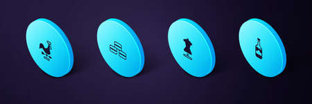 Set Isometric Bottles of wine, Mannequin, Macaron cookie and Rooster weather vane icon. Vector