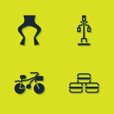 Set Frog legs, Macaron cookie, Bicycle and Street light icon. Vector