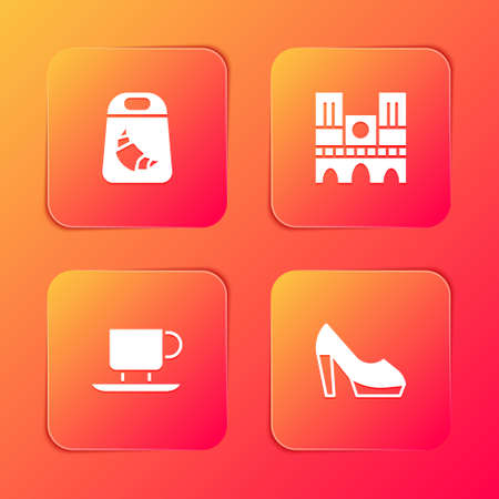 Set Croissant package, Notre Dame, Coffee cup and Woman shoe icon. Vector