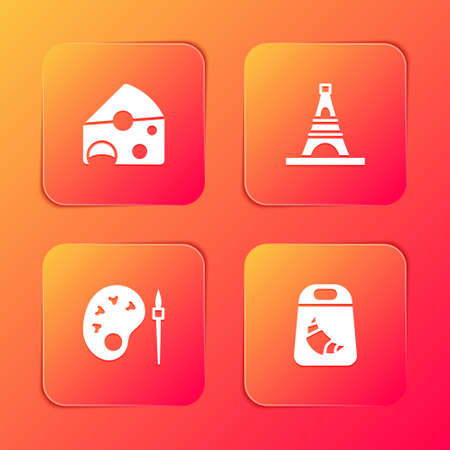 Set Cheese, Eiffel tower, Paint brush with palette and Croissant package icon. Vector