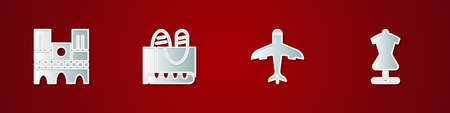 Set Notre Dame, French baguette bread, Plane and Mannequin icon. Vector