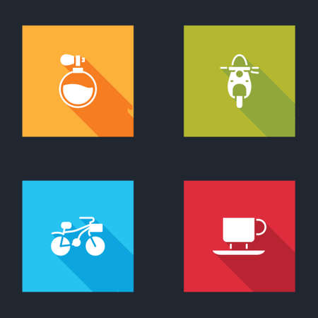 Set Perfume, Scooter, Bicycle and Coffee cup icon. Vector