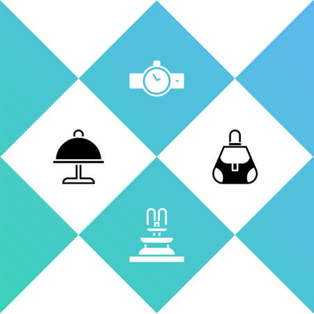 Set Covered with tray, Fountain, Wrist watch and Handbag icon. Vector