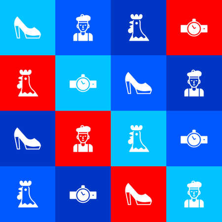 Set Woman shoe, French, rooster and Wrist watch icon. Vector