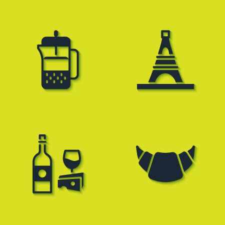 Set French press, Croissant, Wine bottle with cheese and Eiffel tower icon. Vector