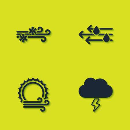 Set Wind and snow, Storm, sun and rain icon. Vector Vektoros illusztráció