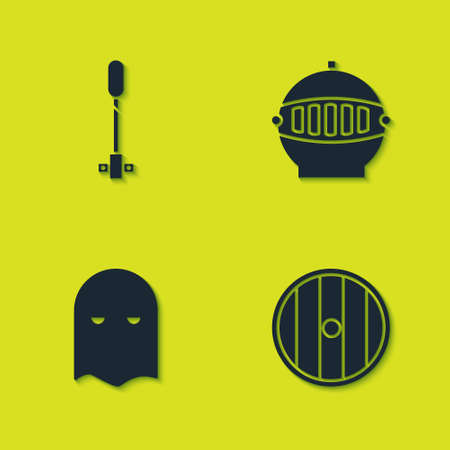Set Torch flame, Round wooden shield, Executioner mask and Medieval iron helmet icon. Vector