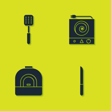Set Spatula, Knife, Oven and Electric stove icon. Vector Vettoriali