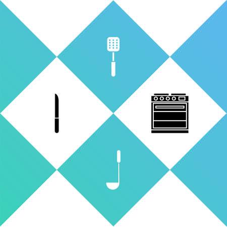 Set Knife, Kitchen ladle, Spatula and Oven icon. Vector Vettoriali