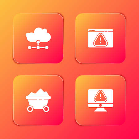 Set Network cloud connection, Browser with exclamation mark, Coal mine trolley and Monitor icon. Vector Иллюстрация