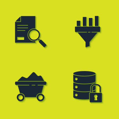 Set Document with search, Server security lock, Coal mine trolley and Sales funnel chart icon. Vector
