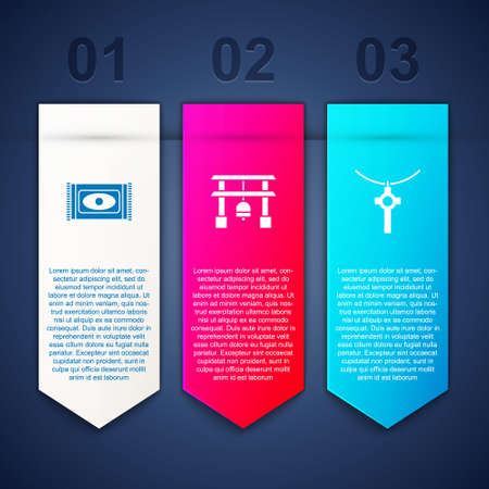 Set Traditional carpet, Japan Gate and Christian cross chain. Business infographic template. Vector