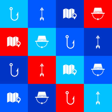 Set Fishing hook, Hipster arrow, Location of the forest on map and Camping hat icon. Vector