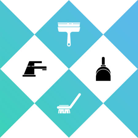 Set Water tap, Brush for cleaning, Rubber cleaner windows and Dustpan icon. Vector Vettoriali