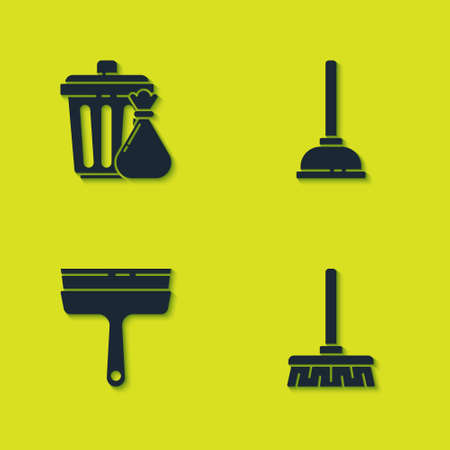 Set Trash can and garbage bag, Handle broom, Rubber cleaner for windows and plunger icon. Vector