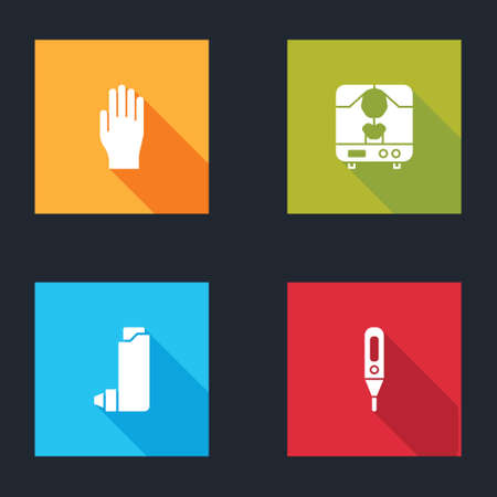 Set Medical rubber gloves, X-ray machine, Inhaler and digital thermometer icon. Vector Vectores