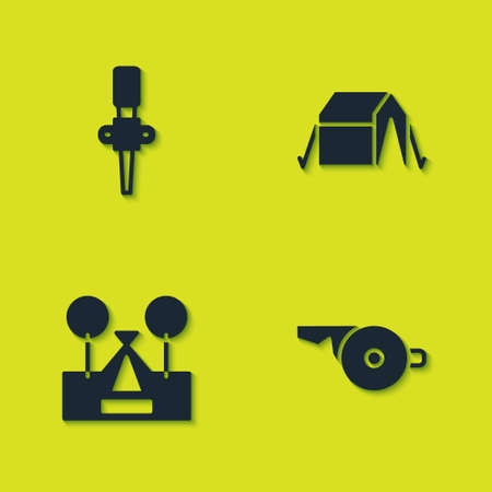 Set Torch flame, Whistle, Tourist tent and icon. Vector