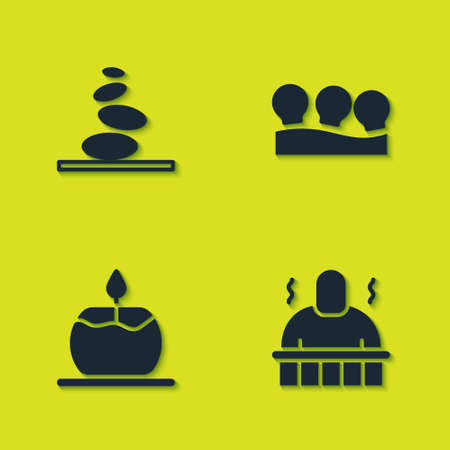 Set Stack hot stones, Sauna and spa procedures, Aroma candle and Vacuum cans icon. Vector Vettoriali
