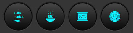 Set Fishes, Puffer fish soup, Canned and on plate icon. Vector